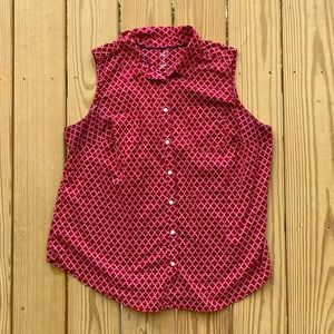 St. John's bay red Moroccan print button up tank